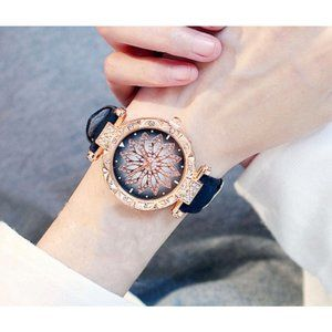 Women's Black & Gold Crystal Flower Wrist Watch